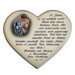 Spruch mit Widmung auf einem Herzen zur Goldenen Hochzeit