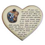 Heiratsantrag mit Motiv und Spruch auf einem Herzen