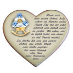 Herz mit Spruch zur Geburt und Motiv Wiege für Jungen
