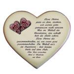 Keramikherz mit Gedicht zur Hochzeit