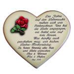 Keramikherz mit Gedicht als Geschenk für den Hochzeitstag
